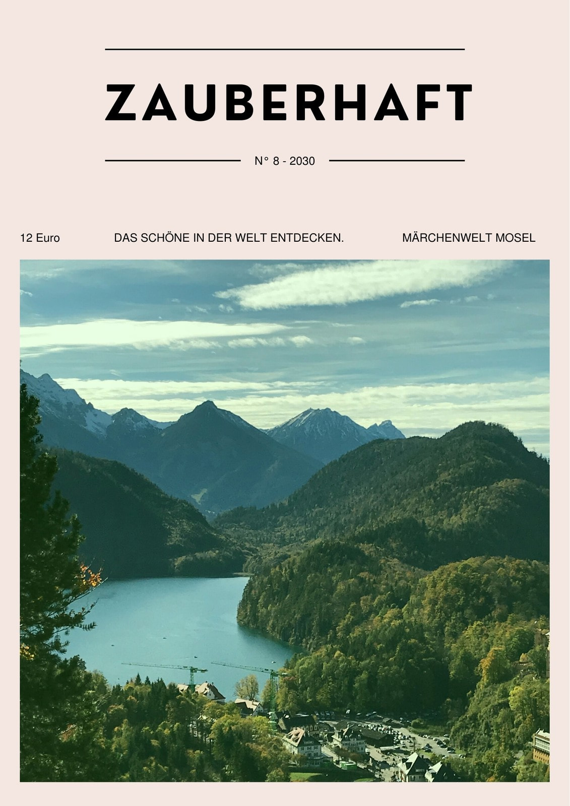 Rosa-grünes Magazin-Cover Mit Foto Reisen Zauberhaft