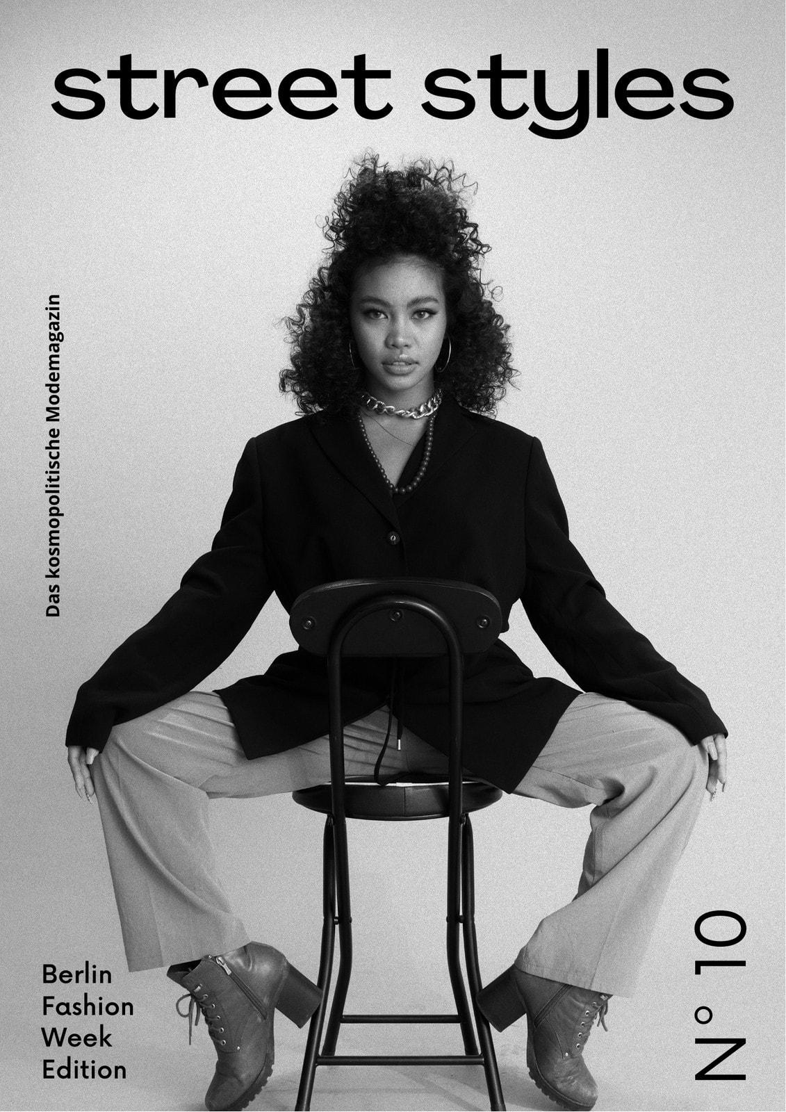 Schwarz-weißes Magazin-Cover Mit Foto Mode Street Styles