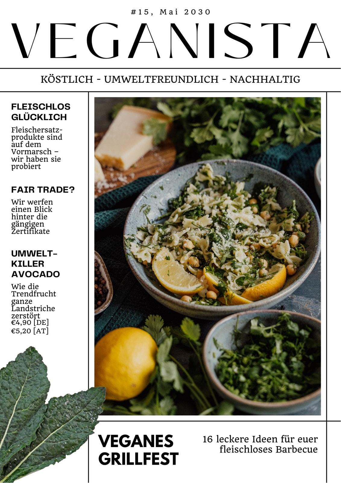 Schwarz-weiß-grünes Magazin-Cover Mit Foto Essen Trinken Veganista