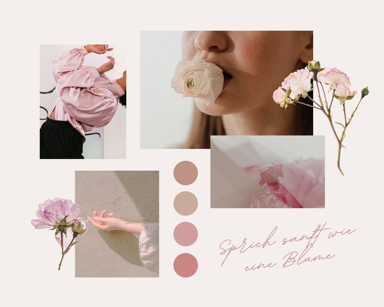 Rosa Weich und Zart Blumen Farbe Inspiration Moodboard Foto-Collage