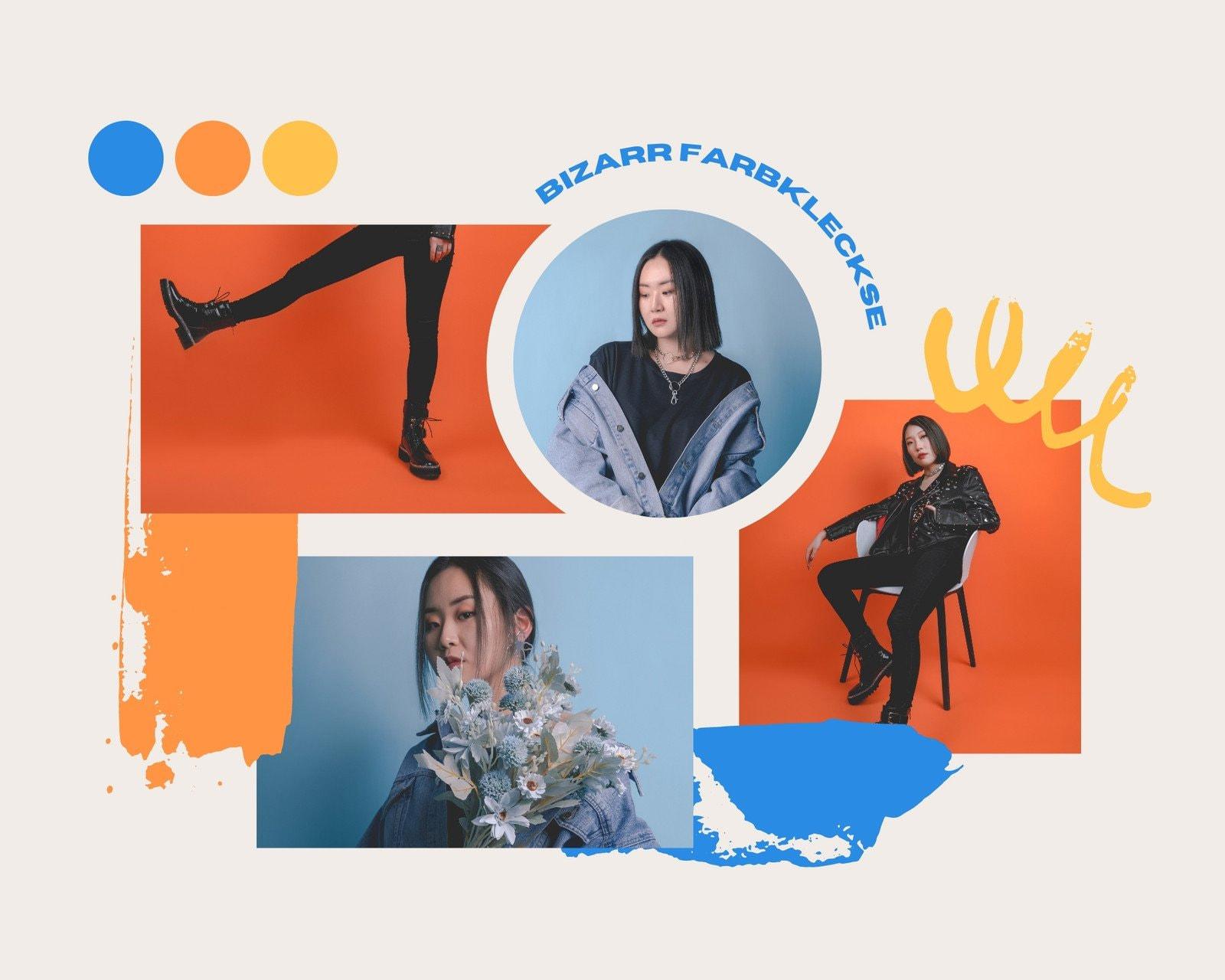Blau Orange und Gelb Hell und Verspielt Mode Moodboard Foto-Collage