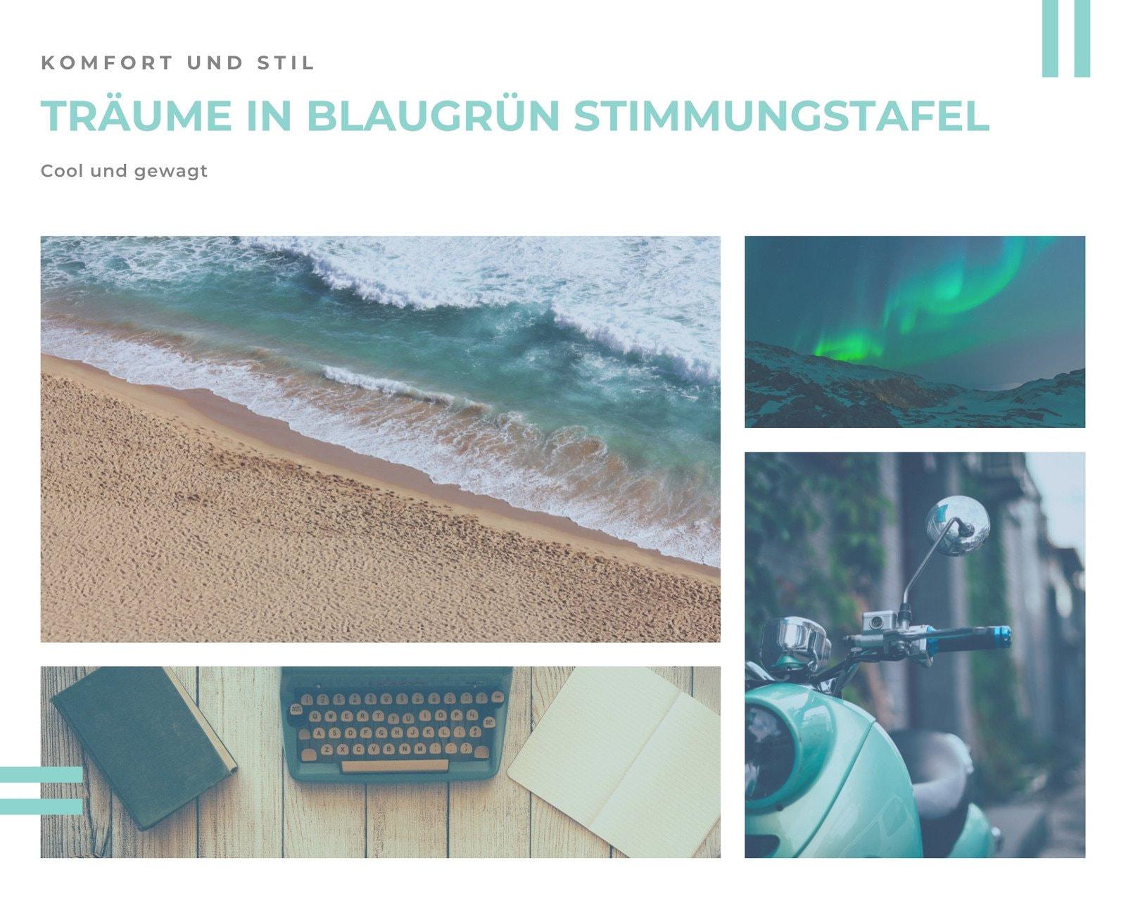 Blaugrün Stimmungstafel Ozean Ruhe Foto Collage