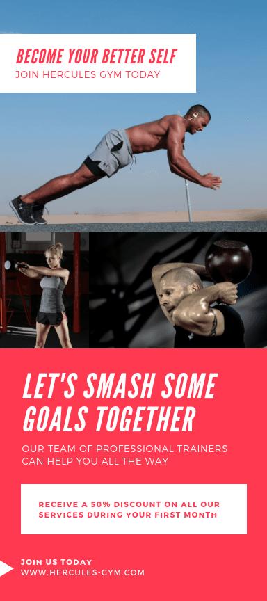 Flyers publicitarios verticales sobre fitness