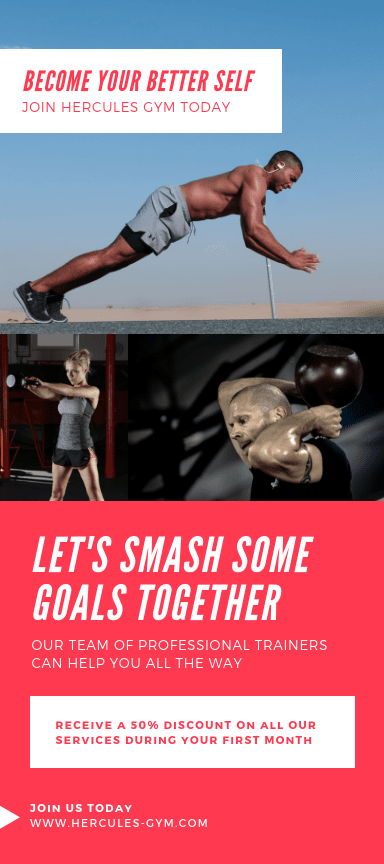 Volantes publicitarios verticales sobre fitness