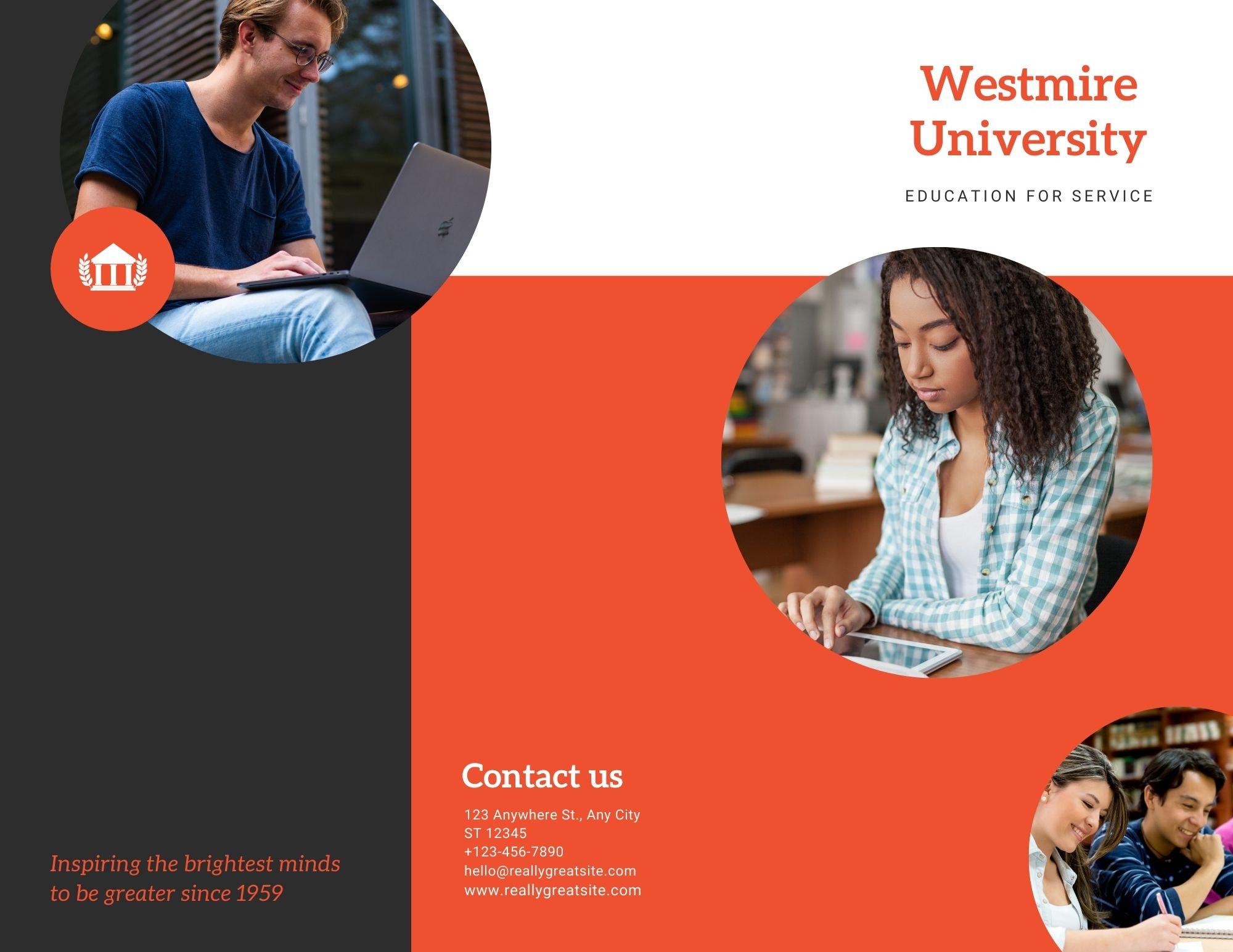 Brochures à trois volets sur le thème de l'université