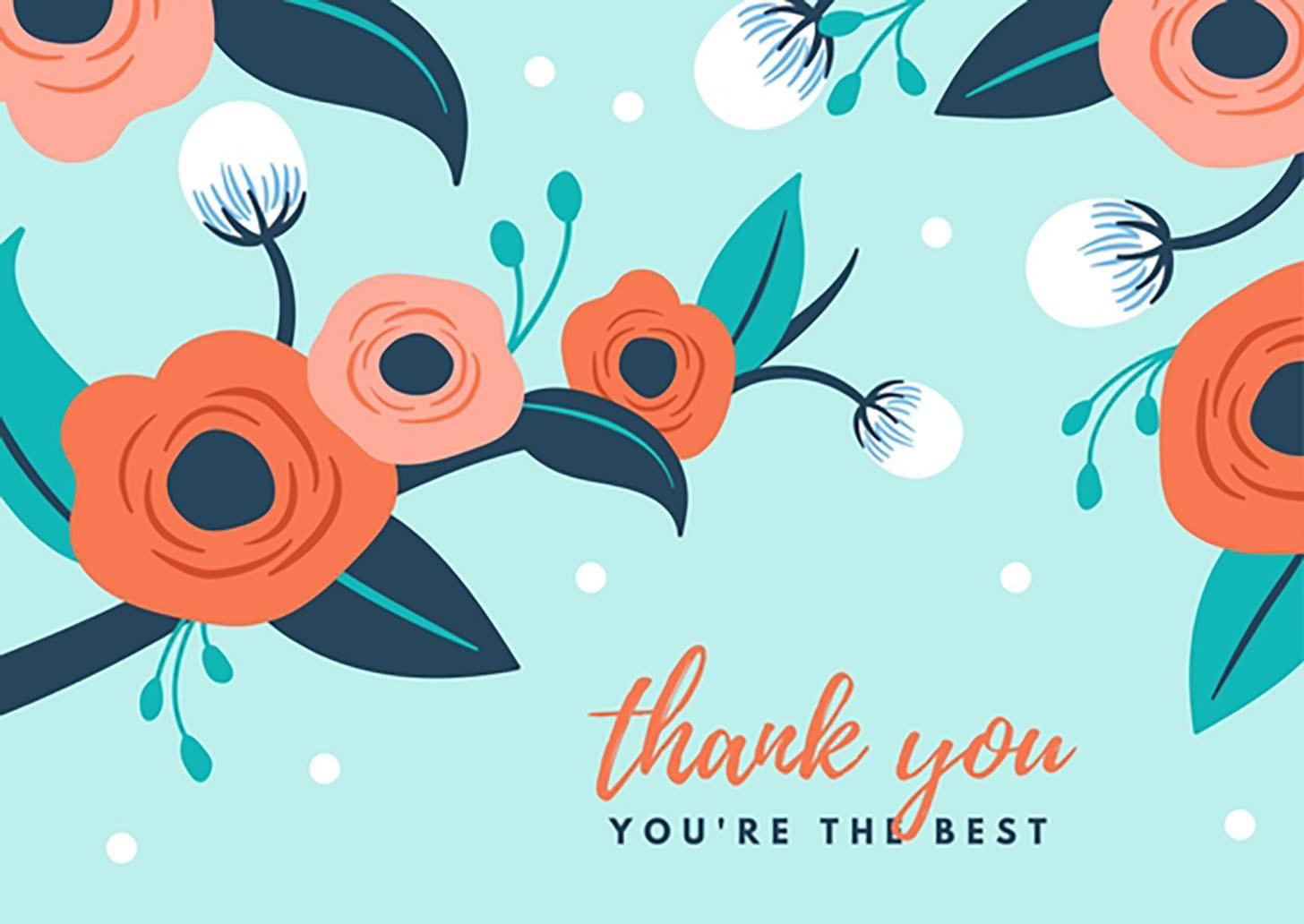 Orange Flowers Thank You Card
