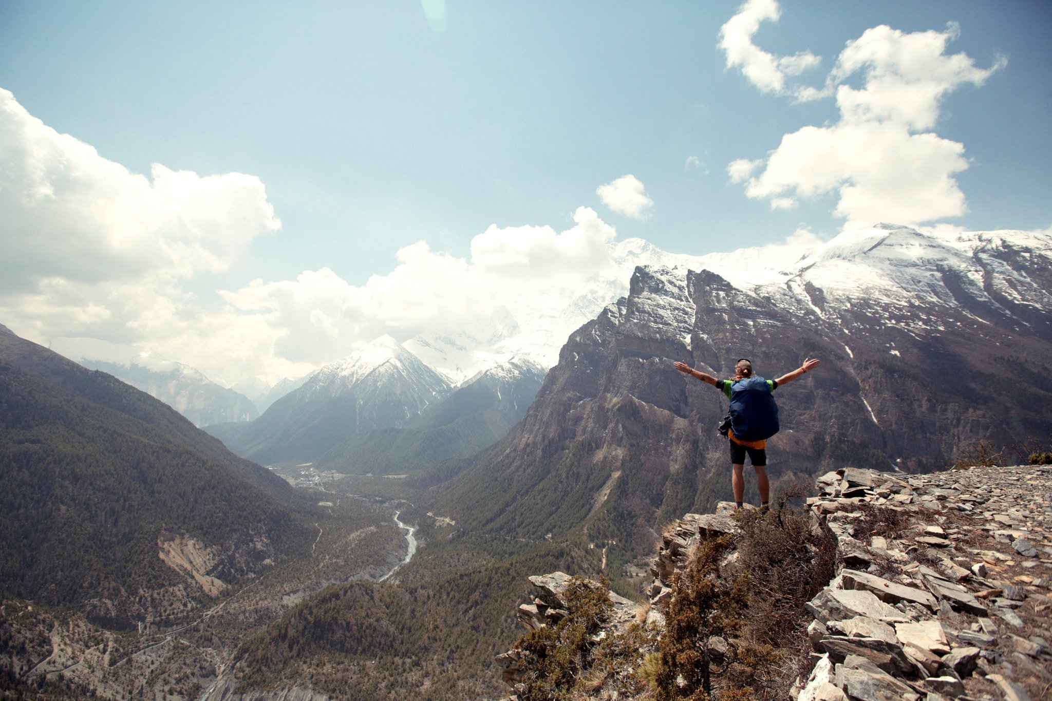 Person on a Mountain Landscape Photography