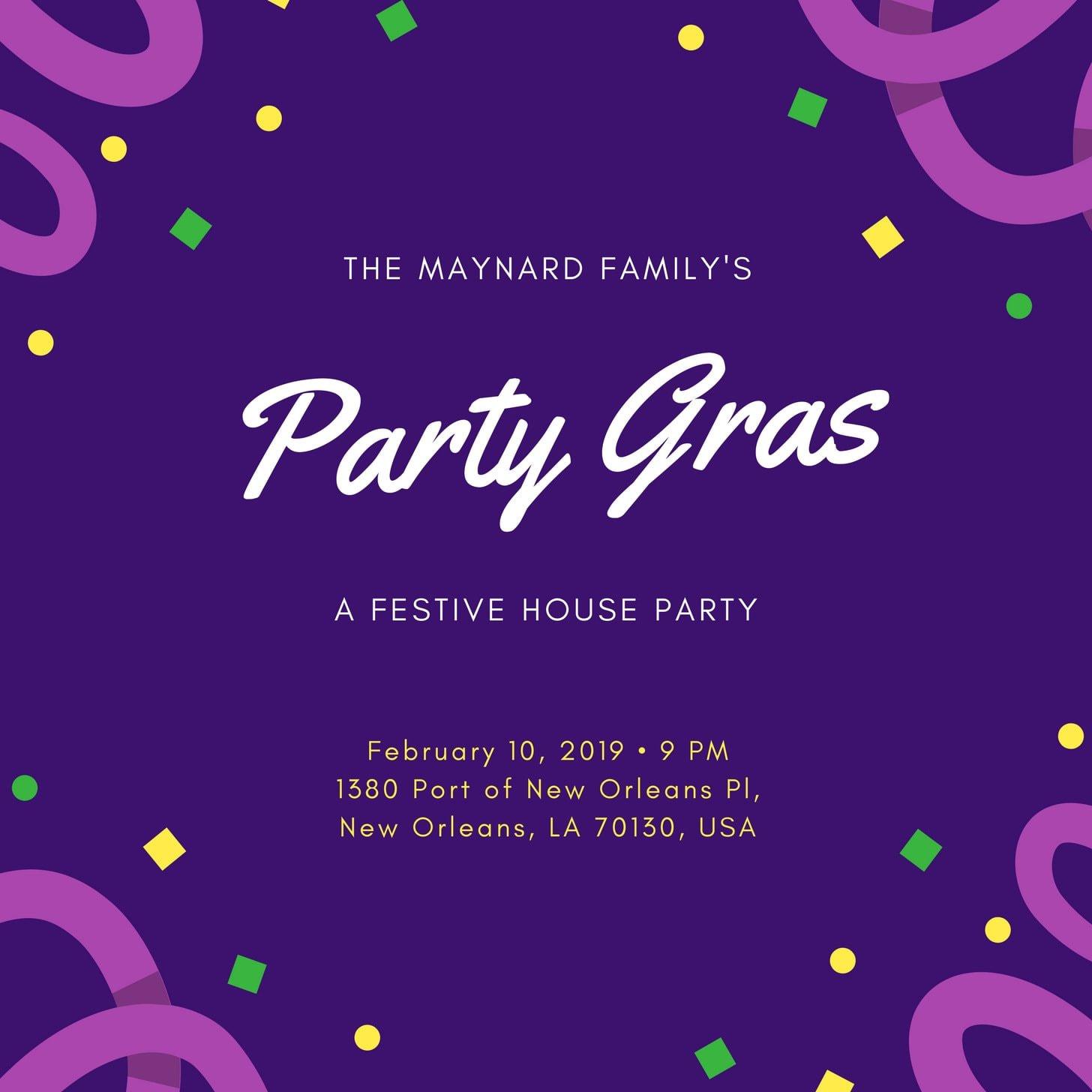 Purple Confetti Mardi Gras Invitation