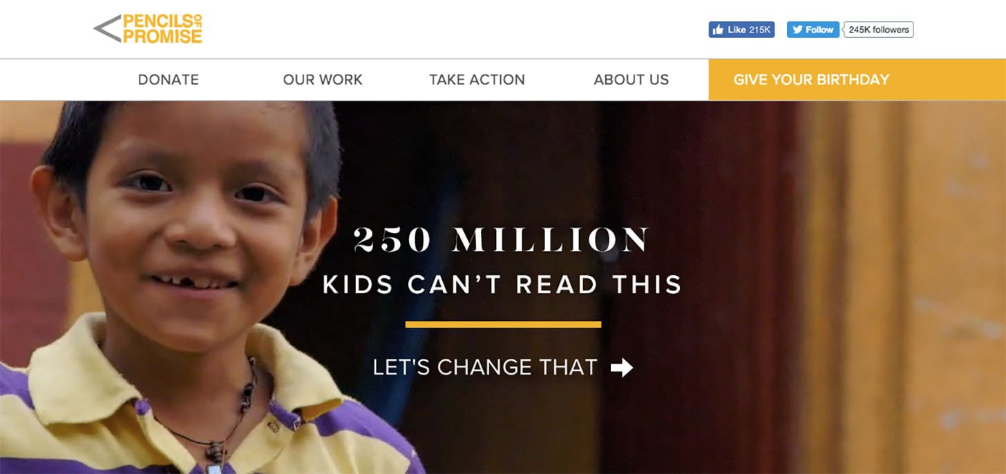 Pencils of promise homepage