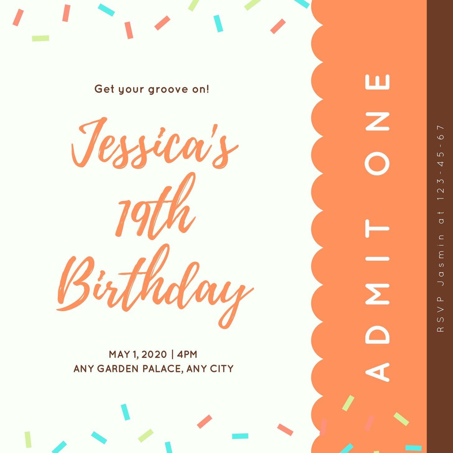 Colorful Confetti Birthday Ticket Invitation