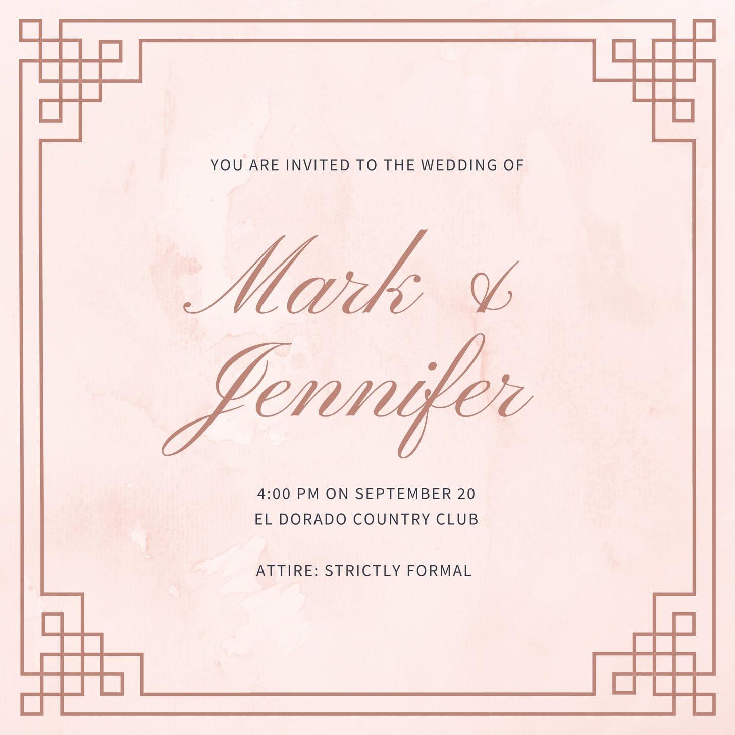 Pink Royal Wedding Invitation
