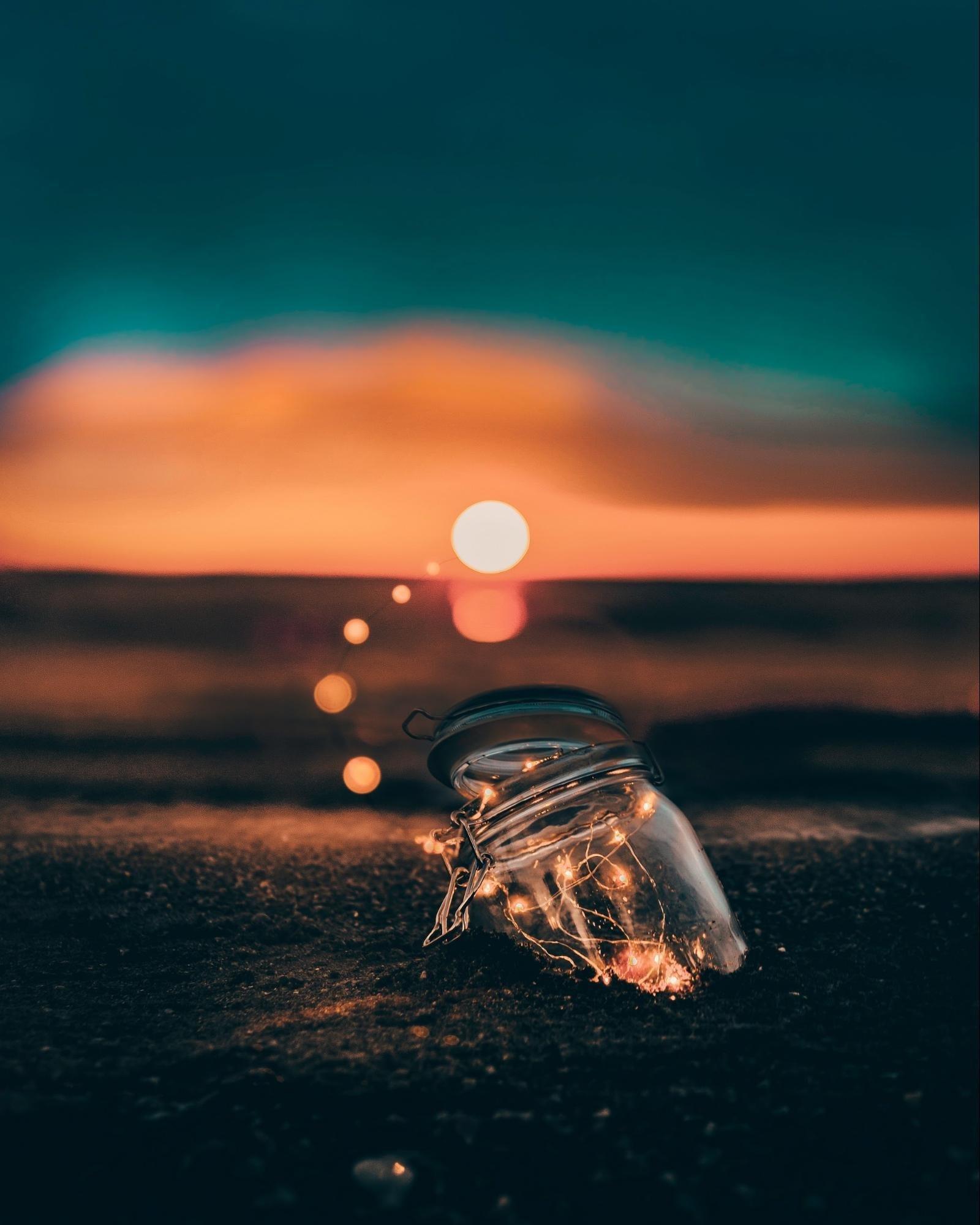 Jar with fairylights bokeh effect