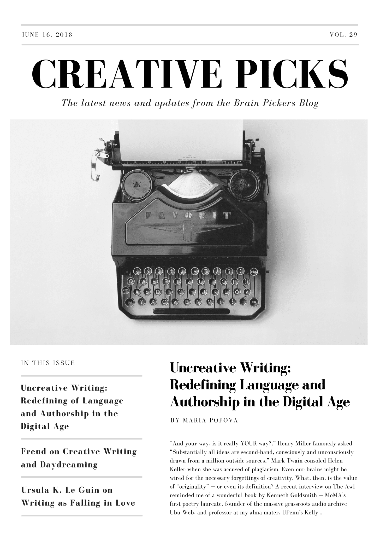 Simple Black and White Typewriter Photo Newsletter