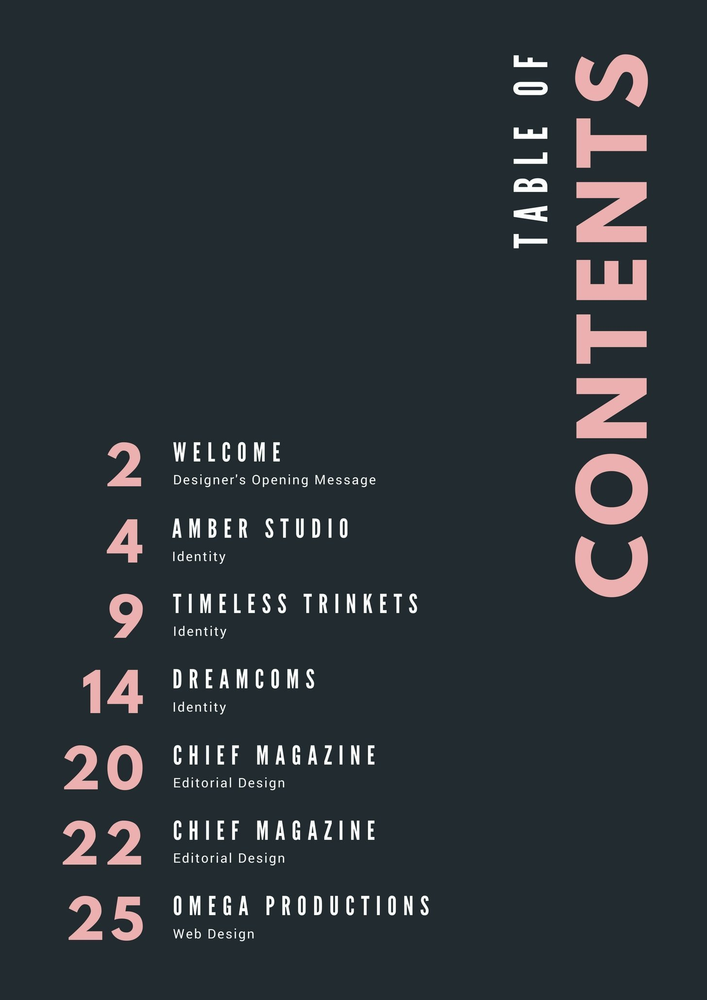 Pastel Pink Typography Portfolio General Table of Contents