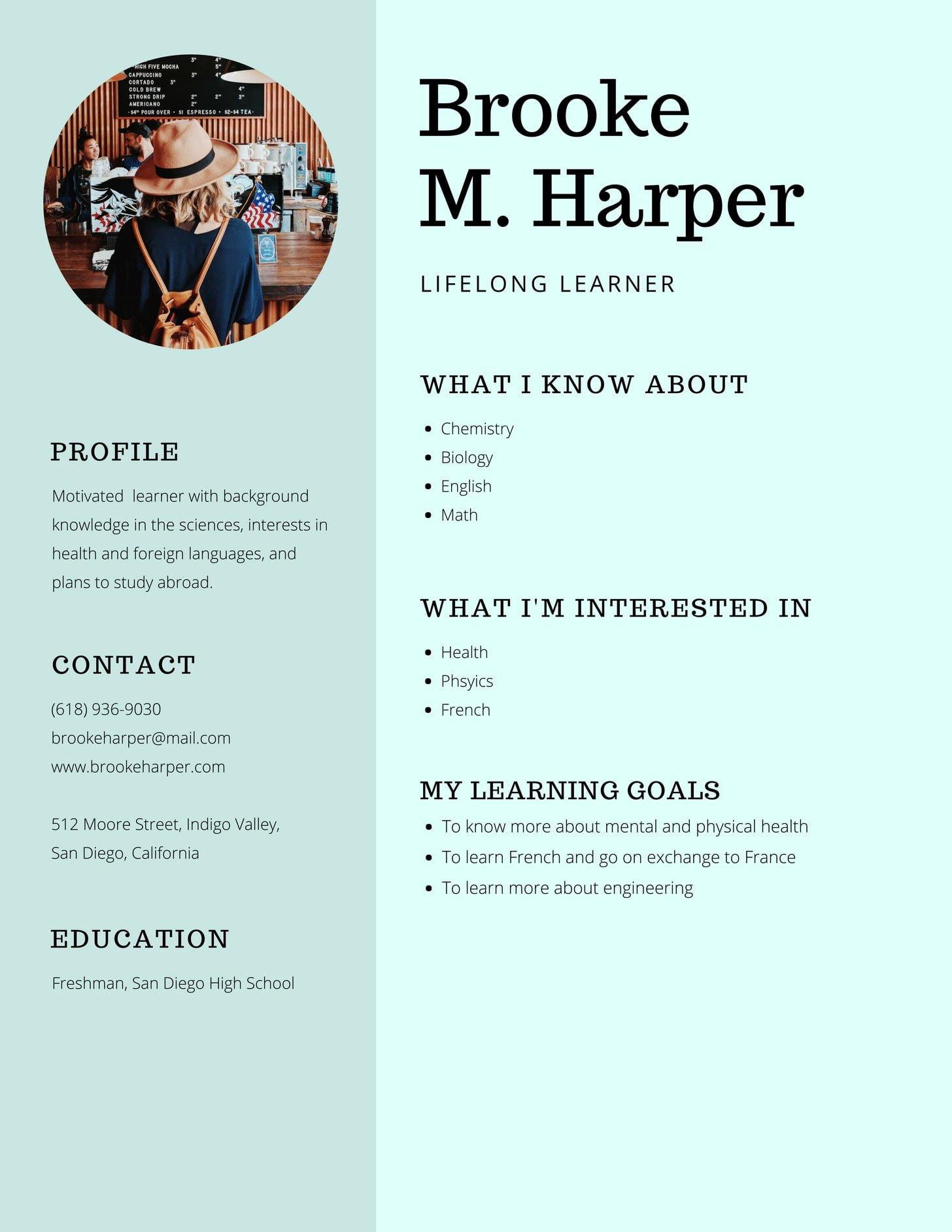 Learner Profile template