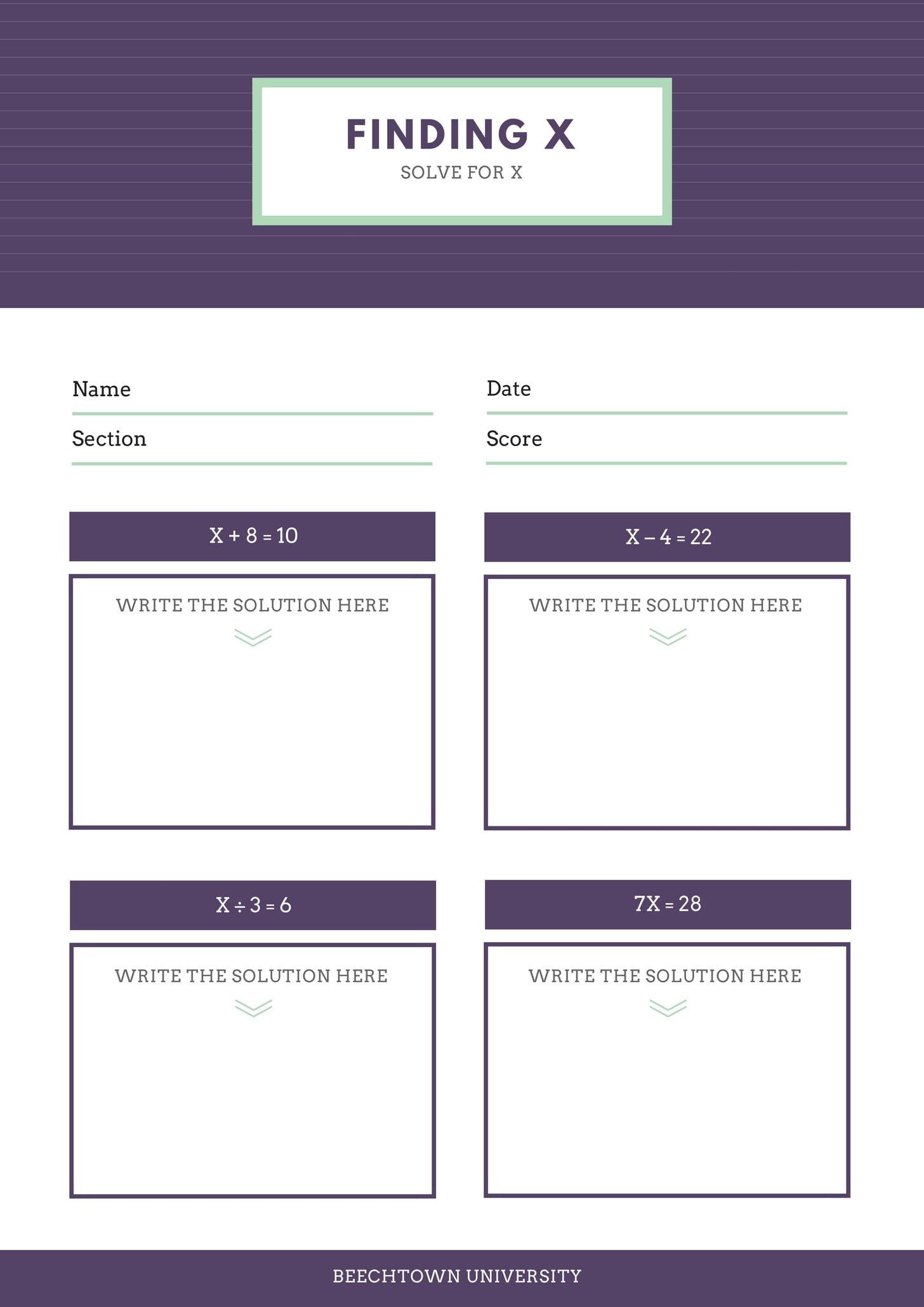 Violet Header Math Games Worksheet