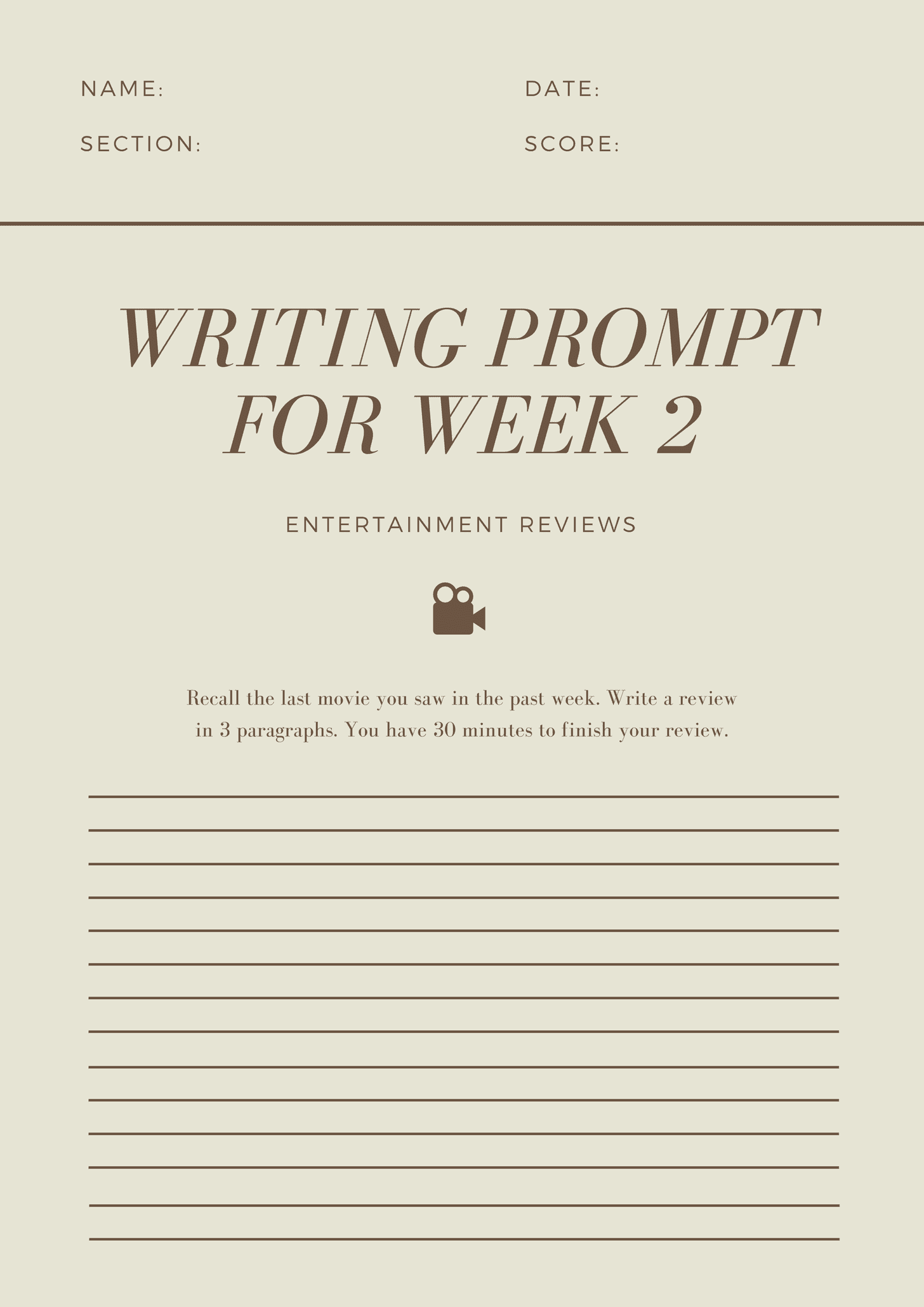 Film Icon Writing Prompt