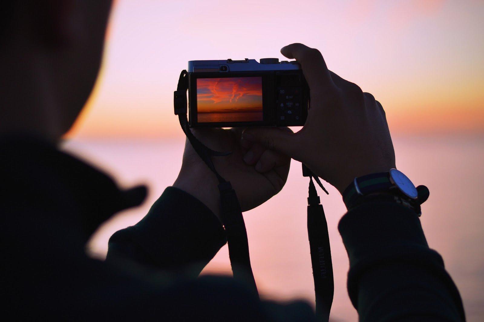 Sunset seen through a digital camera's display by Biel Morro