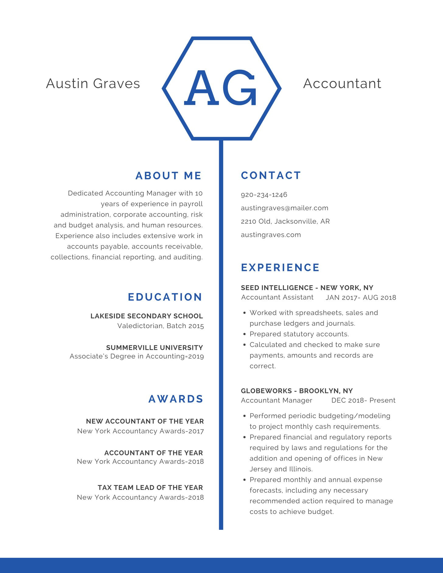 Blue Hexagon Icon Professional Resume