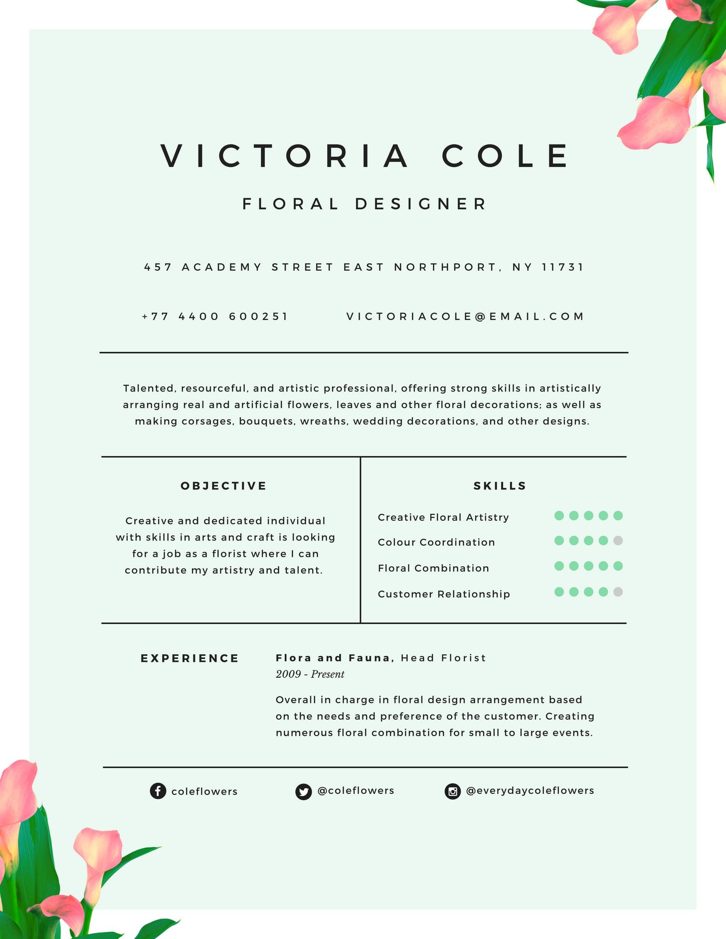 Florist Resume