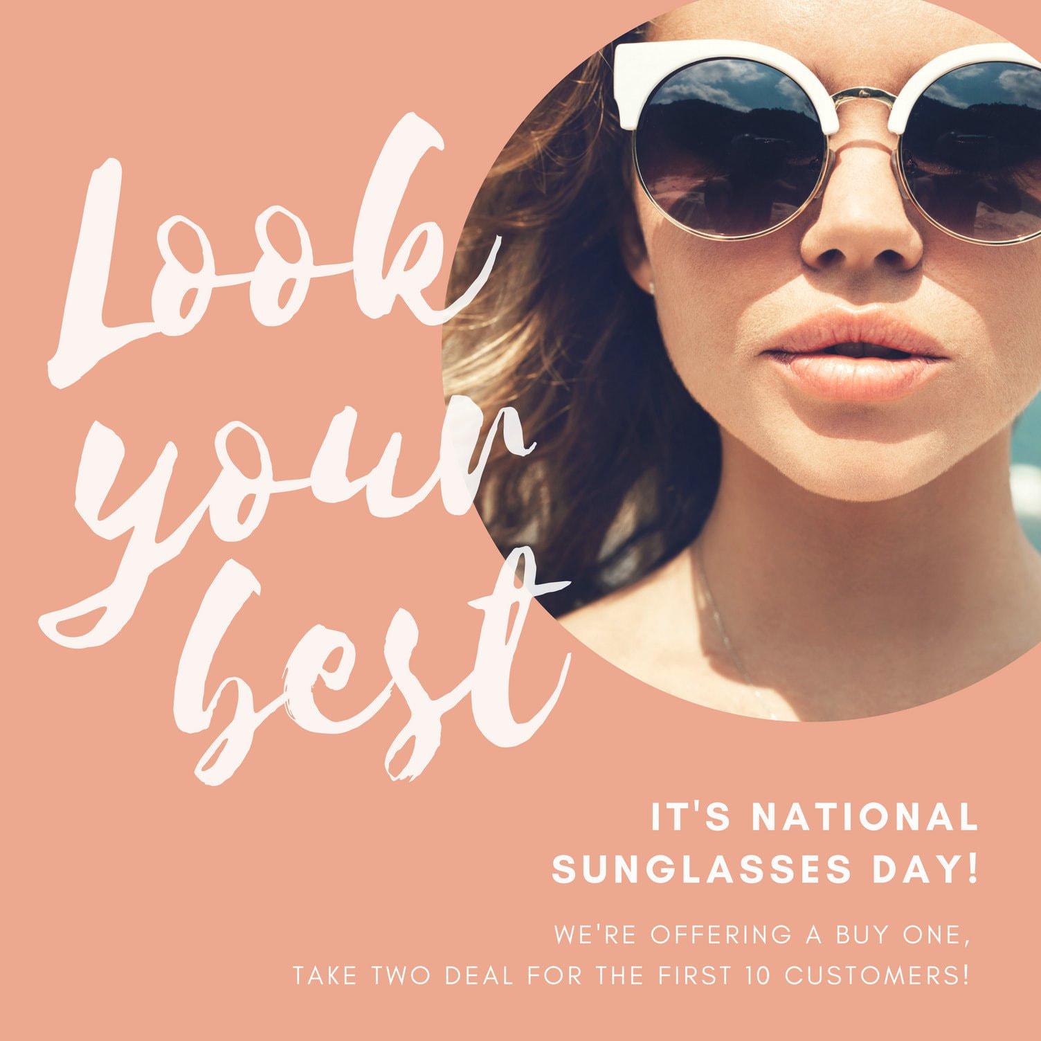 Peach Script Sunglasses Day Social Media Graphic