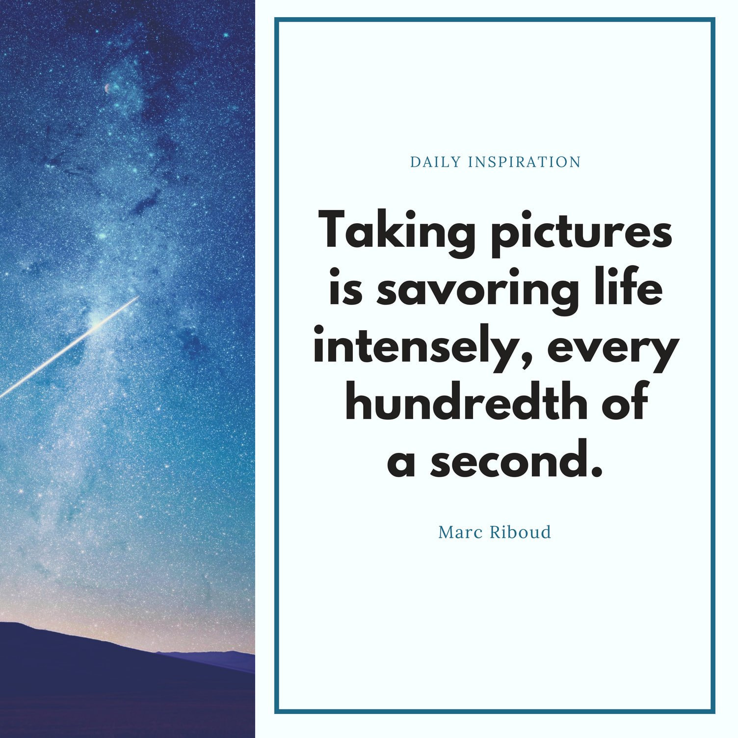 Blue Sidebar Photography Quote
