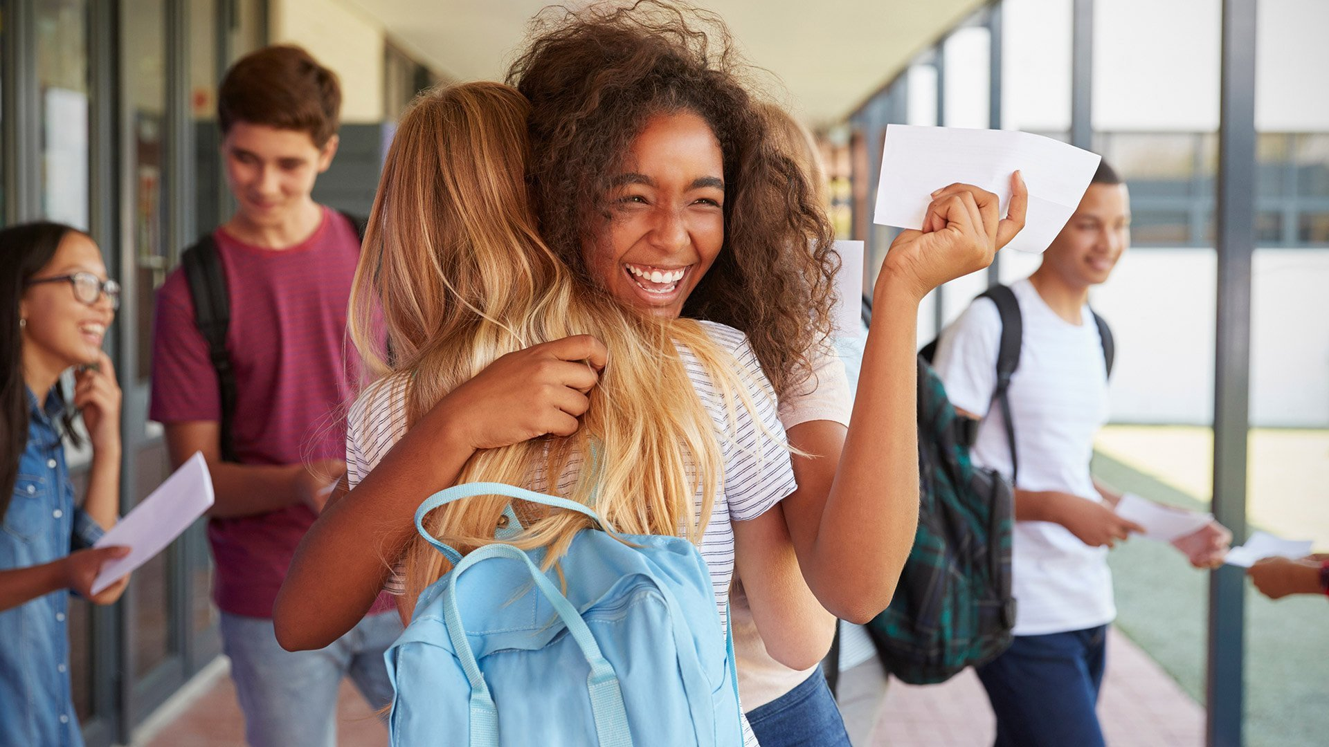 Two-Girls-Celebrating-council-election-in-School-Corridor