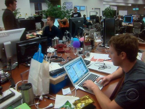 Mark Zuckerberg's desk with the rest of the Facebook employees.