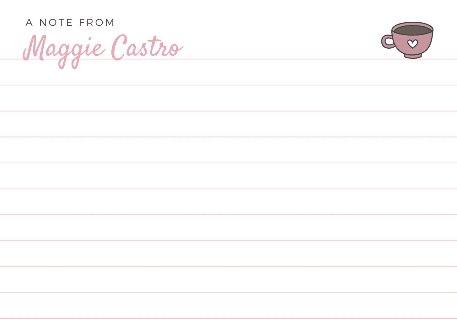 Pink Coffee Mug Simple Note Card
