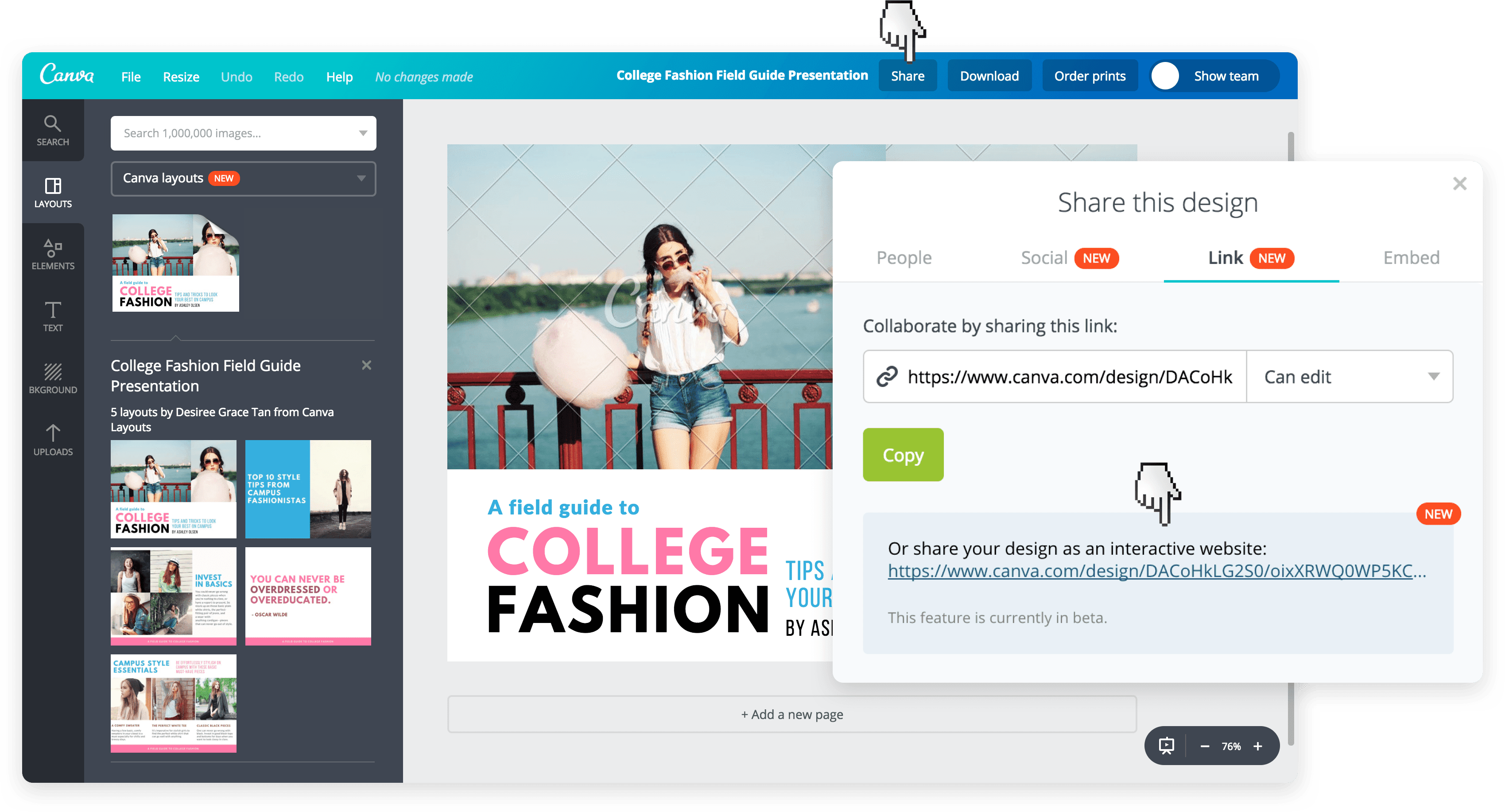 Canva share design link with team