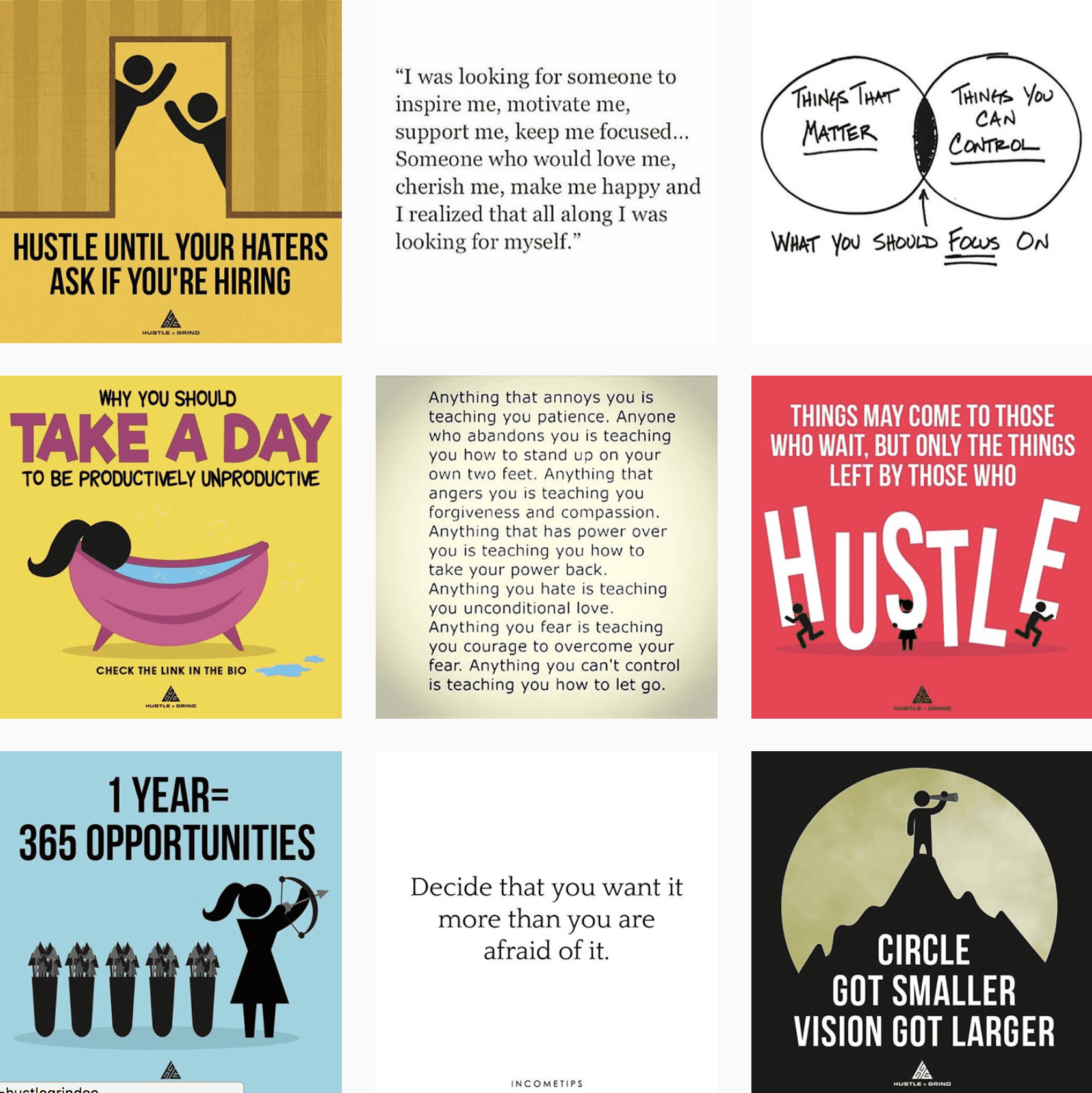 Hustle and Grind Instagram feed