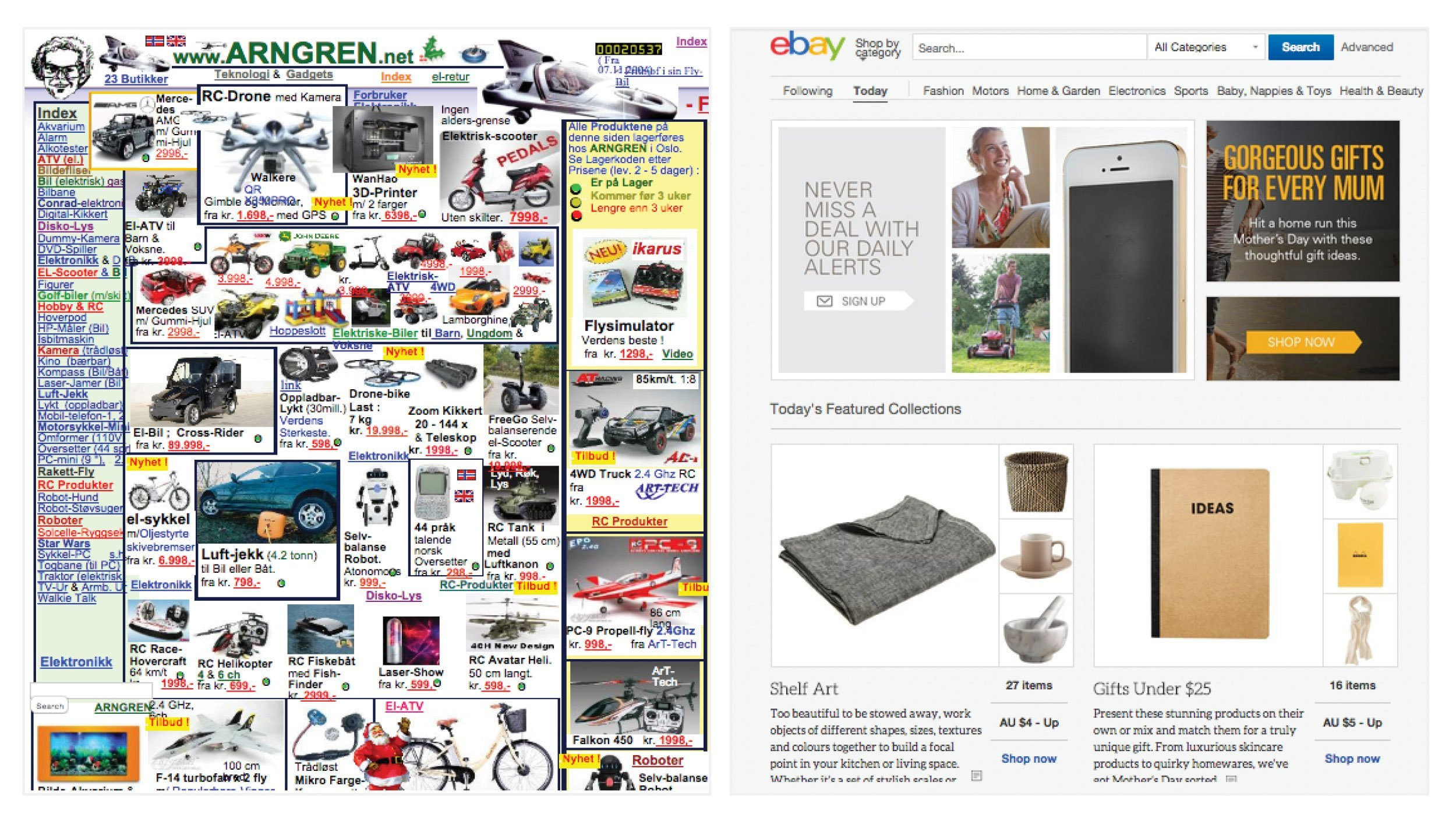 A comparison of two online retail sites, one that has little attention to design, and the other has less content, but a more digestible and user-friendly design.