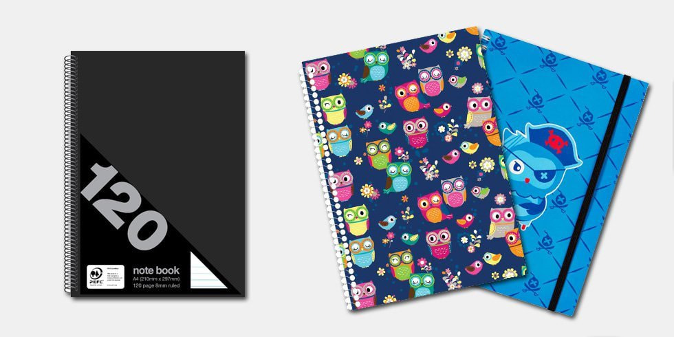 Which kind of notebook do you think a children or their parent would pick up, thinking it's marketed toward them? A little bit of intentional design can go a long way. Images via Officeworks.