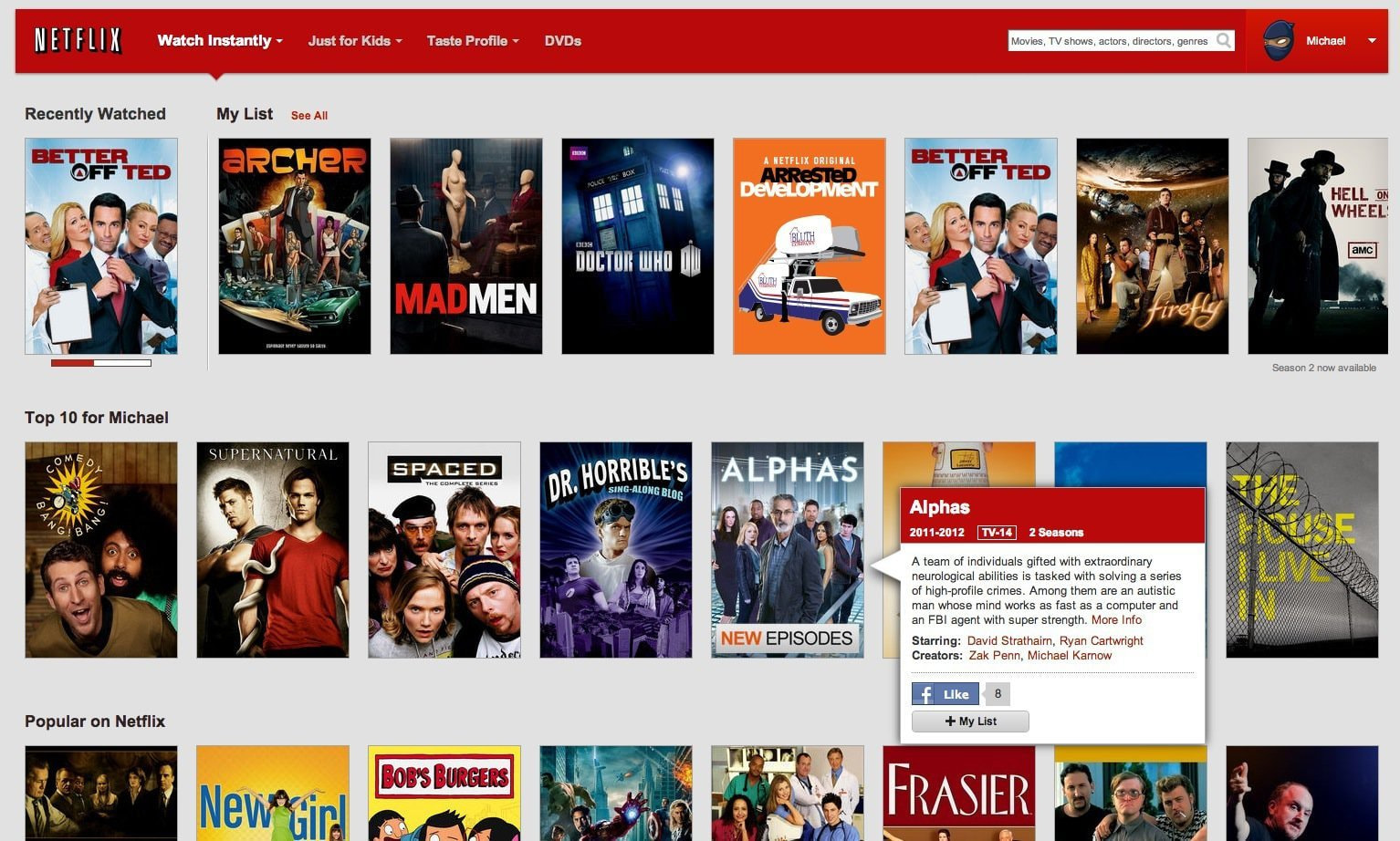 Image via iDownloadBlog. Netflix's website has a high degree of functionality and a beautiful design that for the most part remains invisible, as most good design does.