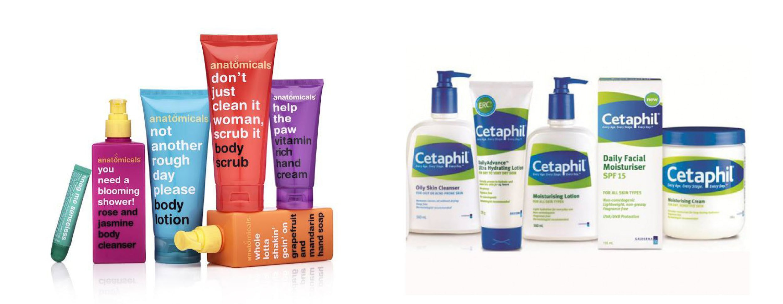 Anatomicals and Cetaphil are two cosmetic brands that give of completely different first impressions through design alone.