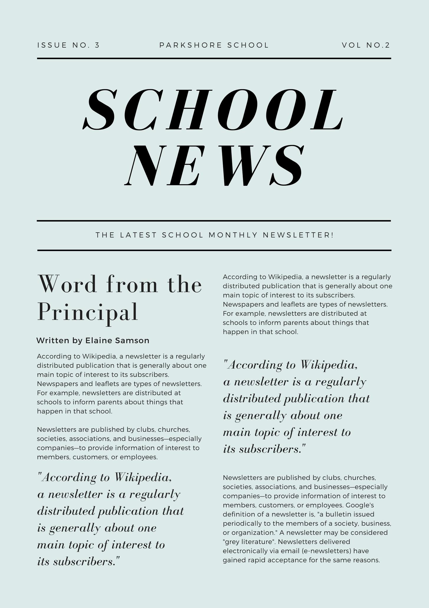 Green Simple Article School Newsletter
