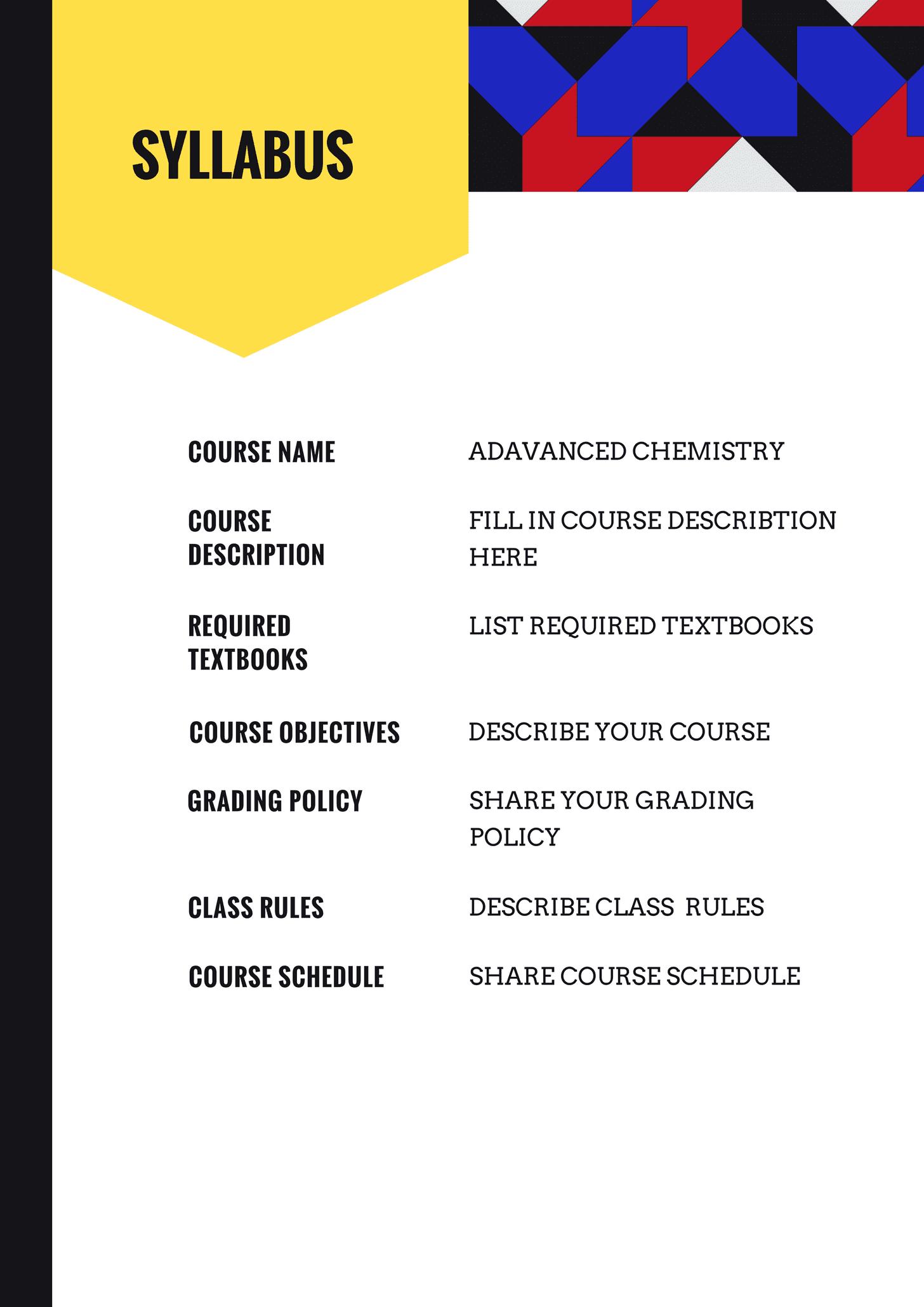Blue and Yellow School Event Program