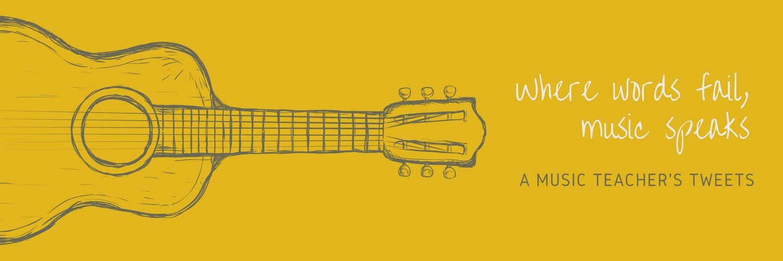 Yellow Guitar Music Quote Twitter Header