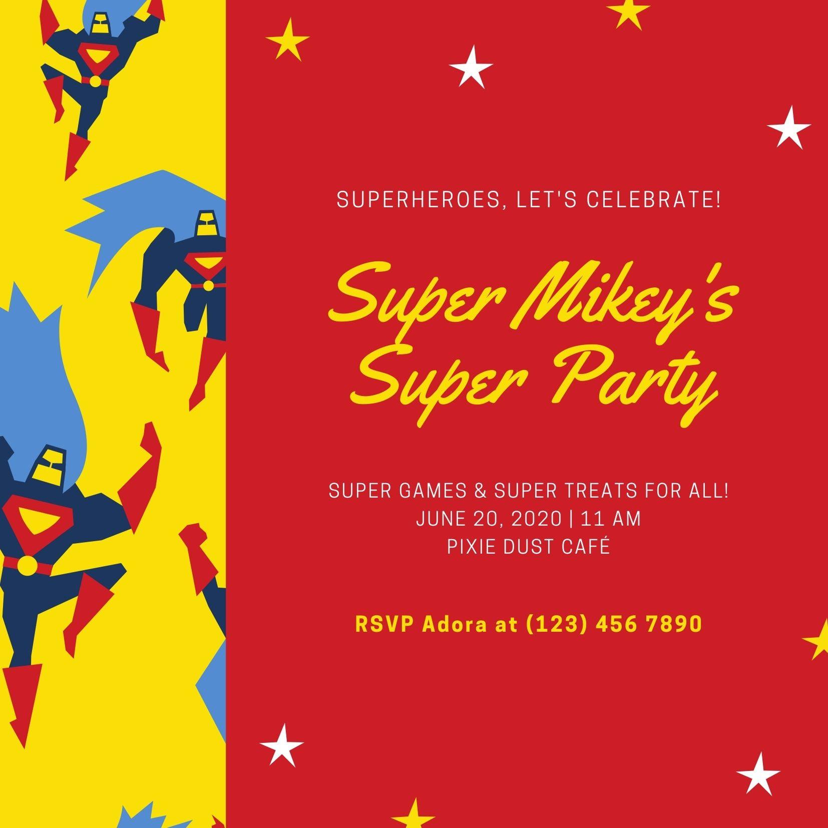 Convites de super-heróis