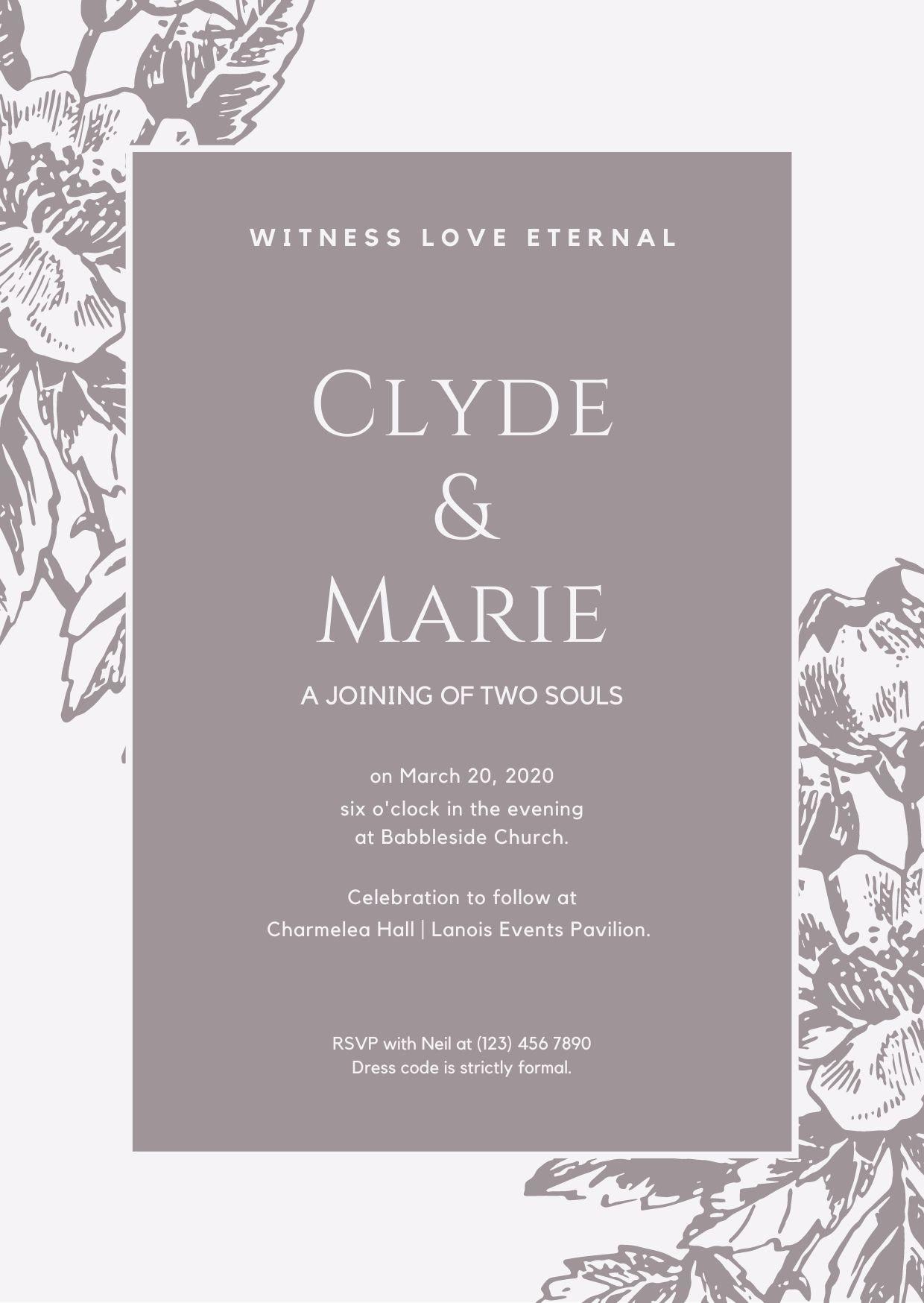 Grey Bordered Vintage Illustration Wedding Invitation
