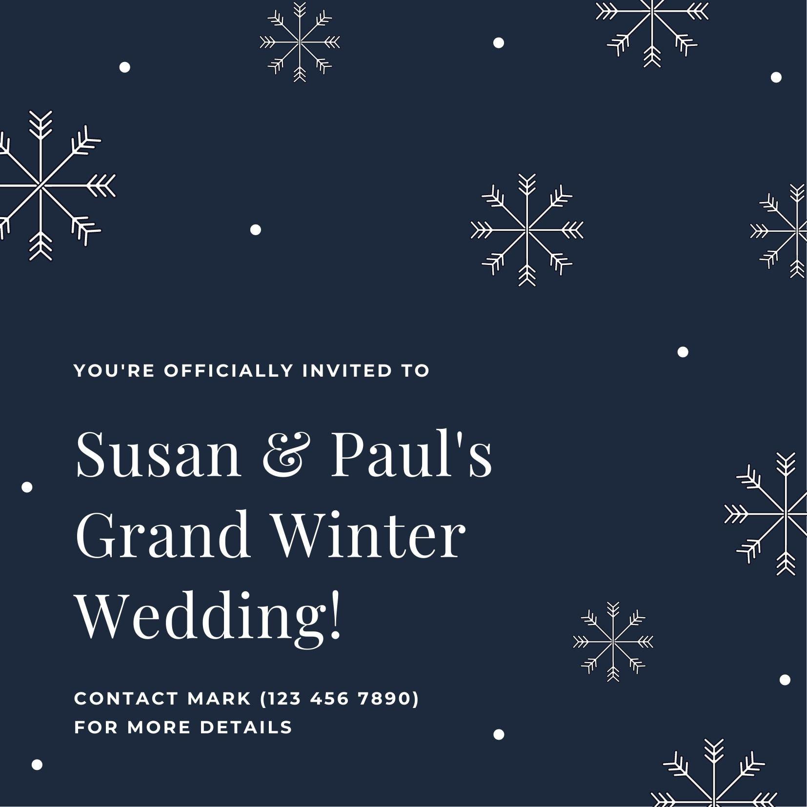 บัตรเชิญงานแต่งงานฤดูหนาว