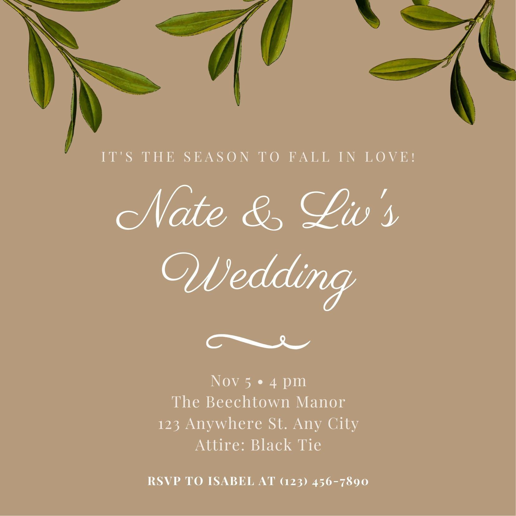 บัตรเชิญงานแต่งงานฤดูใบไม้ร่วง
