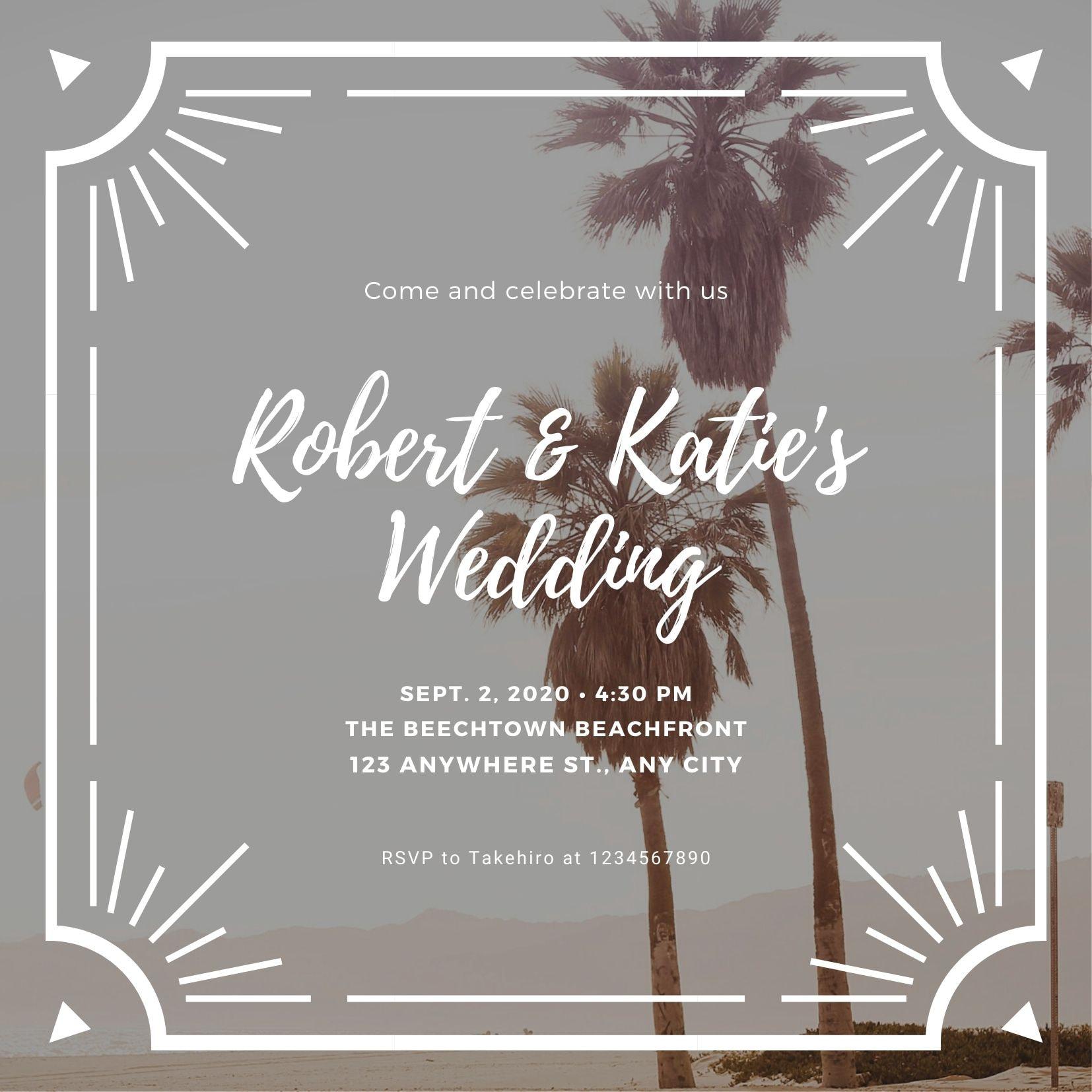 บัตรเชิญงานแต่งงานริมชายหาด
