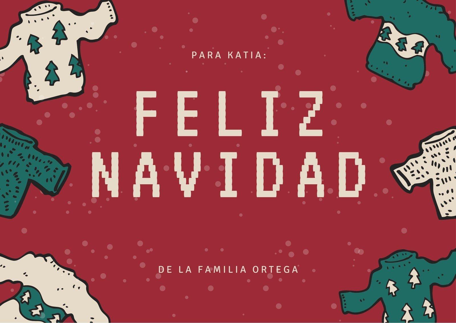 Rojo Navidad Ilustrada Suéter Arte Navideño Tarjeta