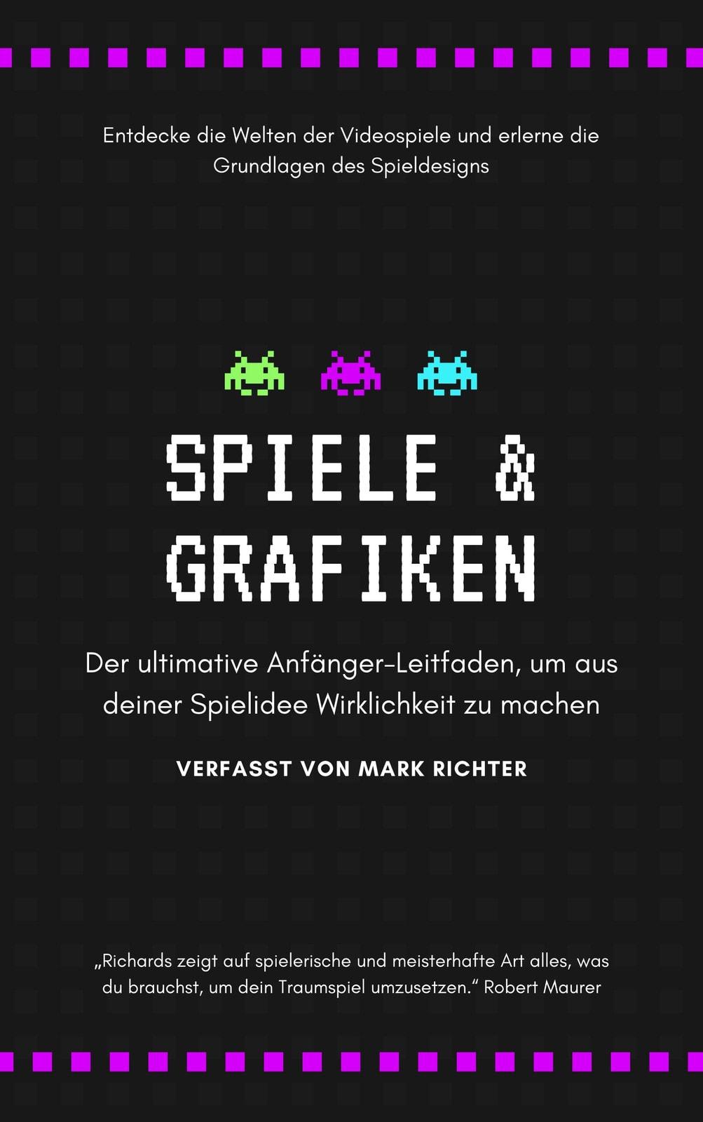Schwarz mit Neon Pixel Grafik Design Bucheinband