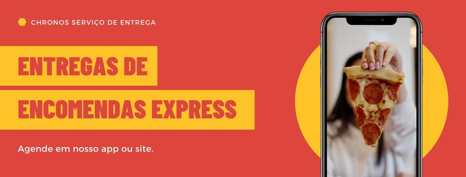 Vermelho e Amarelo Bloco de Cor Serviço de Entrega Empresa Capa para Facebook