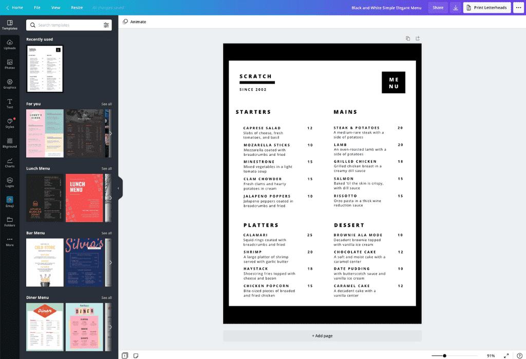 How to make a restaurant menu - Canva