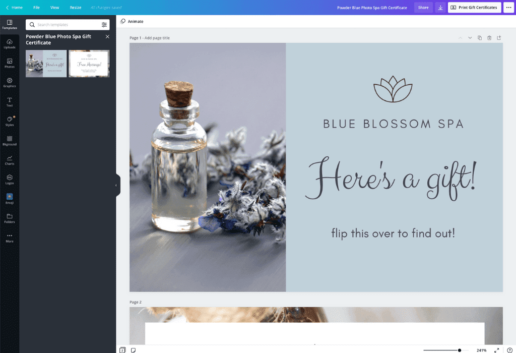 How to make a gift certificate - Canva