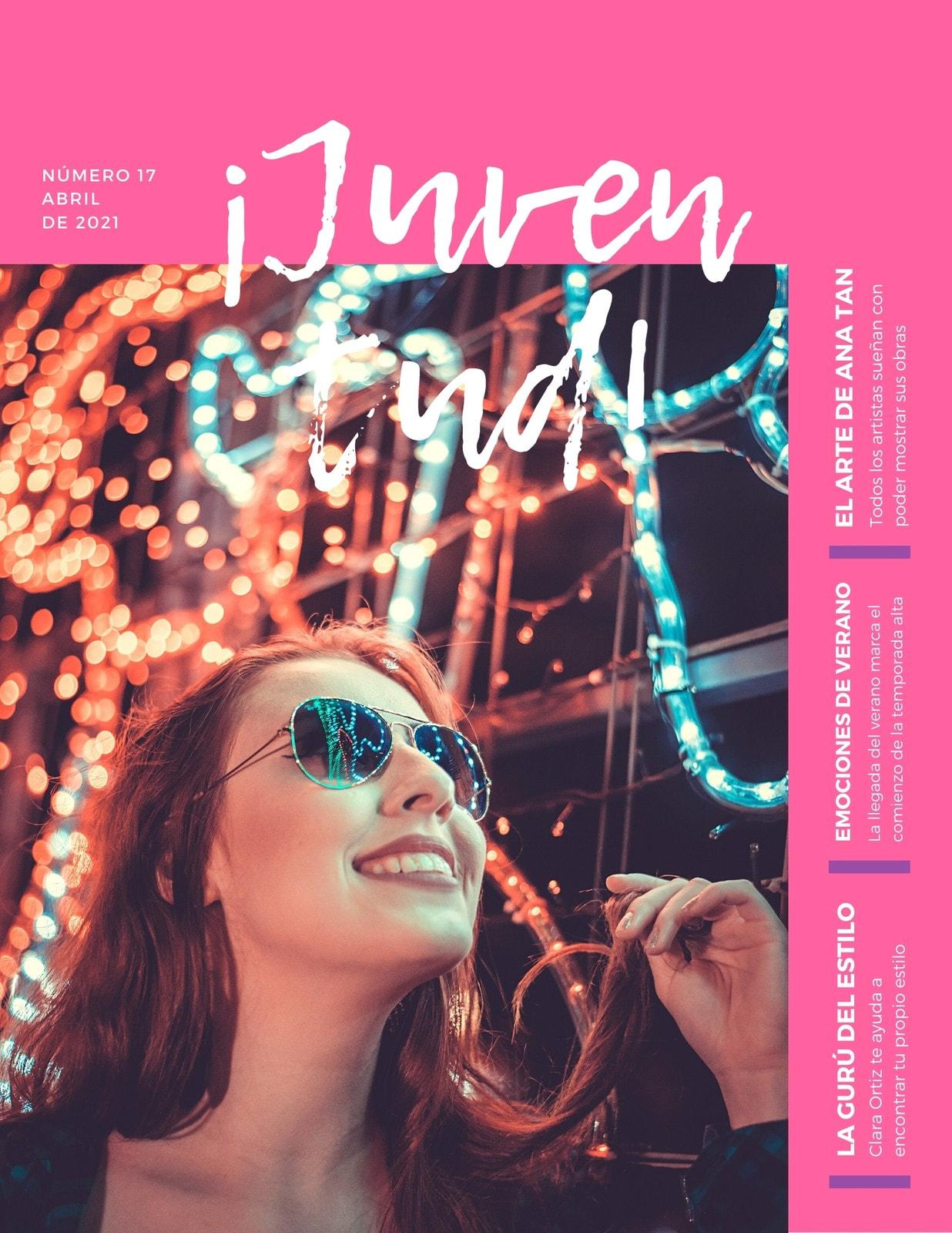 Rosa Femenino Adolescente Revista Portada