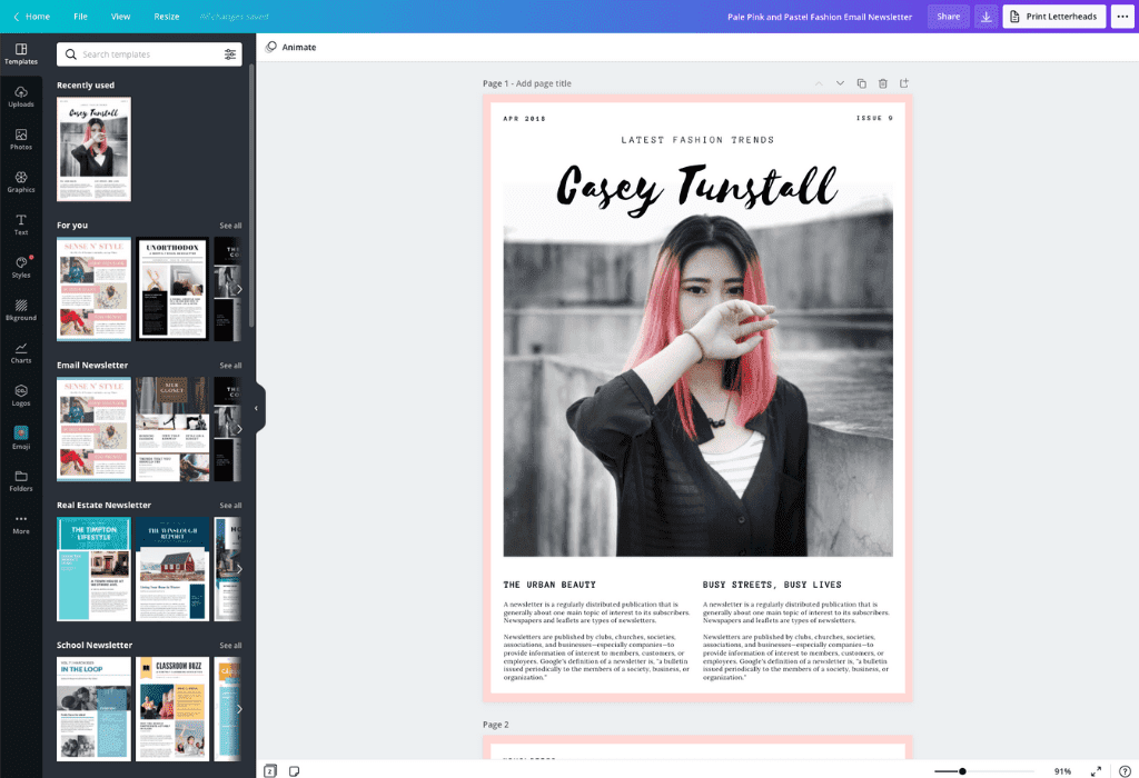 How to make a newsletter - Canva